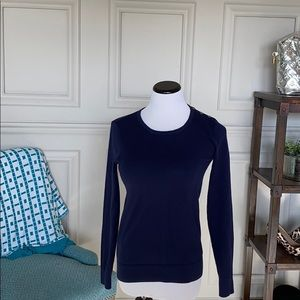 Navy crew neck sweater with shoulder button detail